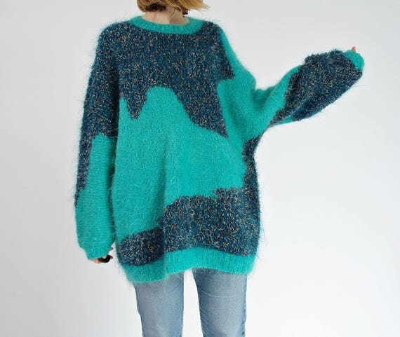 80s Mohair knit oversized turquoise street style handmade fuzzy sweater / size M-L-XL