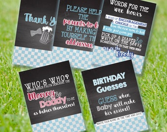5 BBQ Co-ed BABY SHOWER Signs - set of five: Self-Address, Diaper Message, Birthday Guess, Parents Facts - Blue Gingham, Beer, Chalkboard