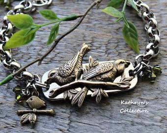 Bird Bracelet, Bird Jewelry, Mama Bird, Baby Bird, Sparrow Bracelet