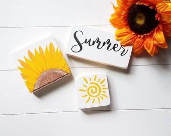 Summer Decor - Sunflower - Summer Signs - Mini Signs - Sunflowers - FREE shipping