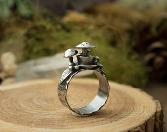 Tea Cup o' Mushrooms Ring, Sterling Silver, Size 6 1/2