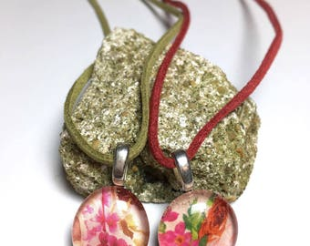 Pink Floral Pair -Glass Pendant Necklaces Set