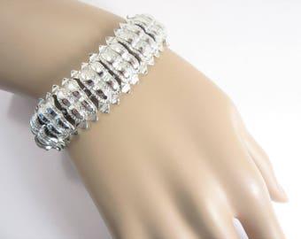 Signed Star Vintage Silver Tone Link Bracelet