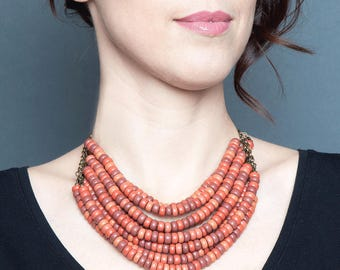 Ukrainian traditional Jewelry - folk beaded multi strand necklace