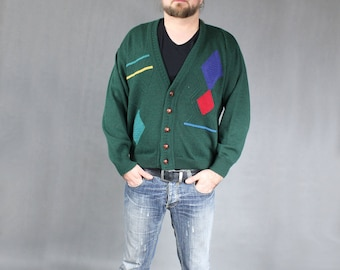 Geometric print 80s Vintage Green Cardigan, Men's Knit Sports 1980s Retro Sweater, Futuristic Retro Workout Color block Unisex Jumper, Sz M