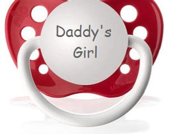 Daddy's Girl Binky - Girl Custom Pacifier - Glitter Dummy - Sparkle Baby Soother - Daddy's Little Girl Pacifier - Engraved Baby Gift