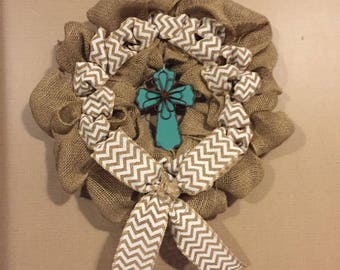 Chevron Wreath with a Cross