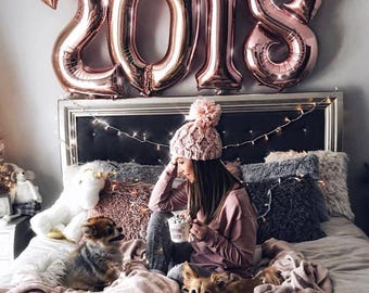 Jumbo Rose Gold Number Balloons - Rose Gold Birthday Balloons, Cake Smash Balloons, Jumbo Number Balloons, Rose Gold Foil Number Balloons