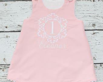 Snowflake First Birthday Dress, Monogrammed Corduroy Dress, Pink Birthday Dress