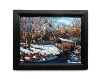 Covered Bridge, Geese, Local Landmark, Jim Hansel, Country Home Decor, Wall Hanging, Handmade, 19 x 15 Custom Wood Frame, Made in the USA