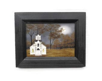 Church Picture, Evening Prayer, Billy Jacobs, Art Print, Country Home Decor, Wall Hanging, 9X7, Real Wood Frame, Handmade,   Made in USA