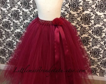 Long Burgundy Tutu Skirt, Wine Long Tutu, Long Flower Dark Red  Tutu, Burgundy Long Tutu, Wine Tutu Skirt, Long Children Tutu, Wine Tutu