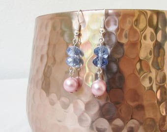 Pearl and crystal bridesmaids earrings, pink and blue, pink pearl earrings, bridesmaids pearl earrings, handmade in the UK