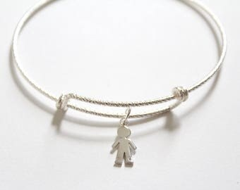 Sterling Silver Bracelet with Sterling Silver Little Boy Charm, Boy Bracelet, Little Boy Bracelet, Son Bracelet, Bracelet for Mom, Boy Charm