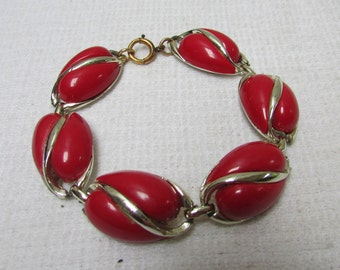 Vintage chunky funky lipstick red thermoset plastic 50's link bracelet