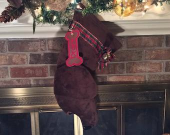 Chocolate Lab Christmas Stocking, Personalized Christmas Stockings, dog stocking, lab stockings, monogrammed stockings, Christmas stocking