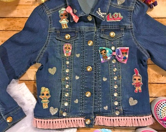 LOL Jean Jacket, Lol Party, Custom Jean Jacket, LOL Surprise, Birthday Outfit, LOL Doll Shirt, Lol Shirt, Lol Outfit, Character Jacket