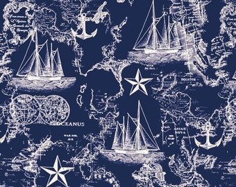 Navy Nautical Map Fabric 100% Cotton Quilting Apparel Crafts Home decor