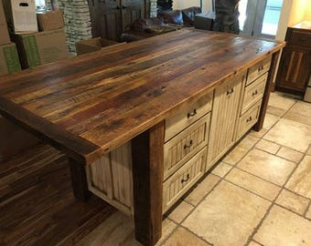 Kitchen Island With Storage, Rustic, Shabby Chic, Wood Kitchen Islands,  Custom Made
