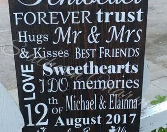 Love, sweetheart (couple) wooden sign with last name. ** Home decor, gift for her, anniversery, weddings*** Great gift!!