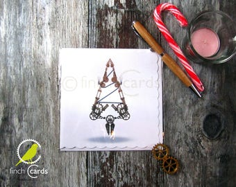 Christmas Tree Steampunk Blank Card, Christmas Card, Xmas Card, Christmas Tree Card, UK