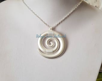Large White Silver Spiral Pendant Necklace on Silver Crossed Chain or Black Faux Suede Cord. Costume, Prop, Swirl