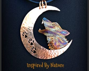 wolf moon necklace, wolf moon pendant, wolf necklace, wolf pendant, wolf jewelry, howling wolf necklace, crescent moon, flame painted copper