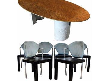 Mid Century Modern Saporiti Italia Italian Dining Table and Set of 6 Chairs