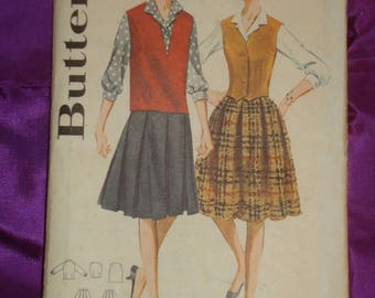 1960s 60s Vintage Front Button Blouse Pullover V Neck Vest Fitted Weskit Pleated Skirt 2 Vws COMPLETE Butterick Pattern 2885 Bst 38 US 97 CM