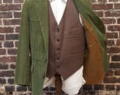 Men's Vintage Style Coats and Jackets 1970s Green Corduroy Blazer. Braided Leather Buttons Single Breasted Mens Wide Wale Corduroy Jacket. Army  Hunter Green. Size Small 40 42 $55.00 AT vintagedancer.com