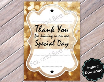 Thank You For Sharing Our Special Day Note Card A6 size - gold sparkle wedding - instant digital download printable