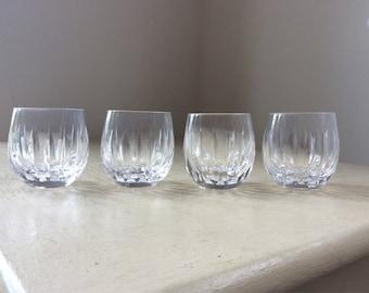 "4x Vintage Stuart Crystal ""Claridge"" Cut Glass Whisky Tot Glasses"