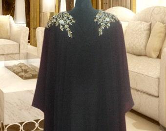 New 100% Silk Georgette Two Piece Embellished Caftan Dress Wedding Kaftan Black