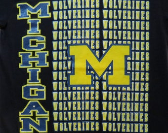 80's Vintage T Shirt Michigan Wolverines University College Football Athletic Varsity