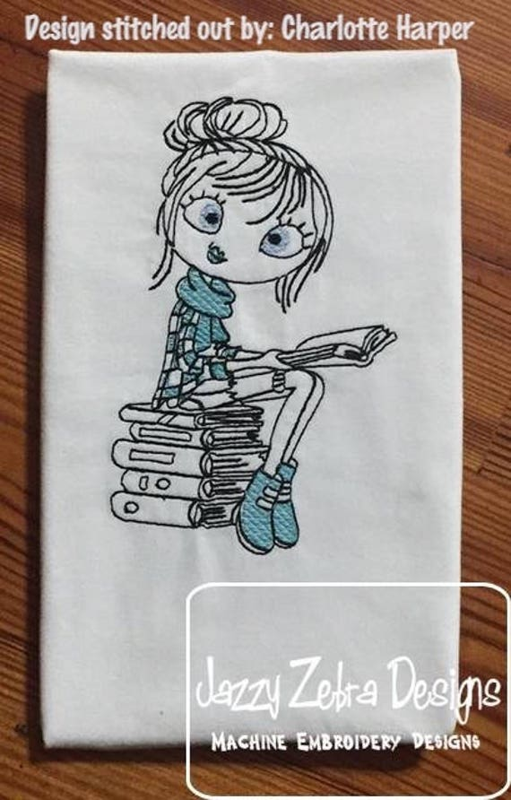 Swirly girl reading 2 sketch embroidery design - reading embroidery design - girl embroidery design - sketch embroidery design - books