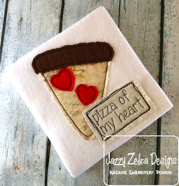 Pizza my heart shabby chic applique embroidery design - Valentine appliqué design - pizza appliqué design - girl appliqué design - boy