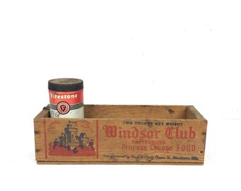 Small Wood Box Vintage 1960s Windsor Club Small Wood Cheese Box Vintage Wood Cheese Crate Box Small Old Wood Crate Vintage Small Box Wood