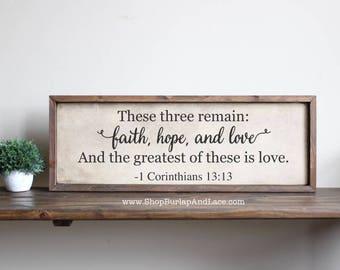 Faith hope love, faith hope and love, hanging wall sign, hanging wall decor, home and living, wall decor, home decor, these three remain