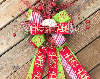 present christmas tree topper cupcake candy cane and lime green bow chevron decoration - Best Christmas Tree Toppers