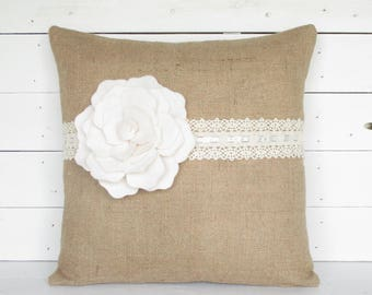 burlap pillow with lace edging rustic pillow burlap pillow burlap throw pillow