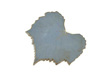 Grape Leaf dish - pottery - Blue jean color - blue leaf - ring dish - spoon rest - fall leaf - fall decor