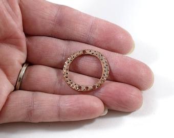 Textured Copper Ring Pendant, Round Pendant, Three Hole Pendant