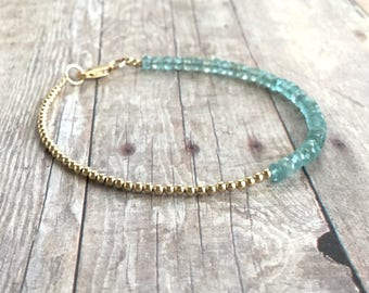 Gold Bead Bracelet / Blue Green Faceted Gemstone Jewelry / Dainty Gold Bracelet with Small Natural Stones / Delicate Handmade Jewelry