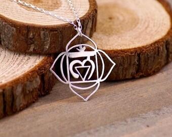 Root Chakra - Hand Cut Sterling Silver Pendant, Necklace, 1st Chakra, Muladhara