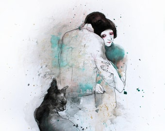 Original Watercolor painting Couple with Sphynx Cat. Watercolor mixed media painting. Cat watercolor illustration. Cat watercolor wall art.