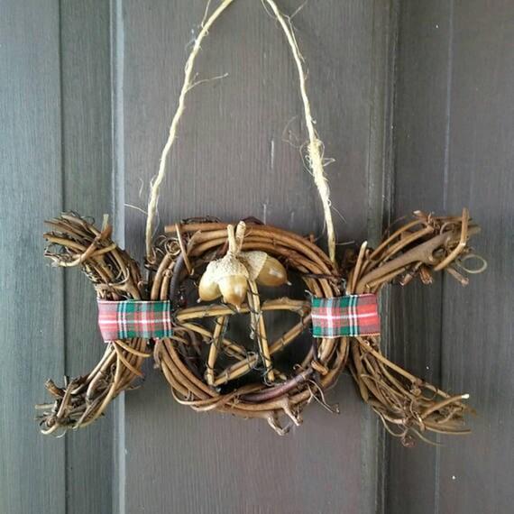 Pagan Yule Decorations, Rustic Door Decoration, Yule Ornaments, Ornament Wreath, Pagan, Yule, Decorations, Ornaments, Pagan Yule Gifts