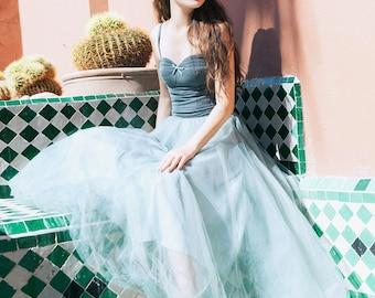 L'amant Collection princess grapefruit orange/smokey grey ballet fluffy princess dress