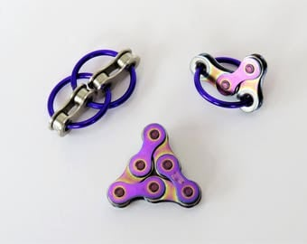Bike Chain Fidget Toy Set of 3: Rainbow, Purple, Blue, Gold, Black & Silver, with gift box. Fidget in color!