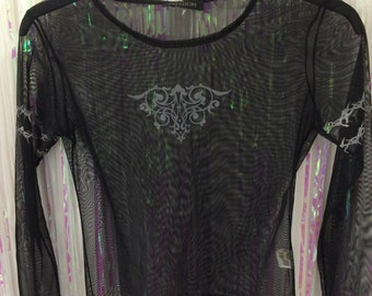 Black sheer mesh with silver tribal tattoo long sleeve top S/M