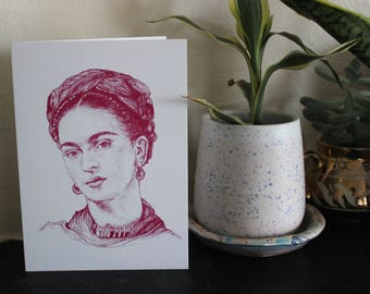 FRIDA KAHLO - Small Pink Art Print / Greetings Card - Mexican Woman Artist - Pen Drawing - Feminist Feminist Gift Occasion